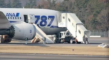 A Boeing 787 Dreamliner operated by All Nippon Airways sits on the tarmac on Jan. 16, 2013, after the jet made an emergency landing at Takamatsu Airport in Takamatsu, Japan. / Jiji Press/AFP/Getty Images By Belo Content KMOV