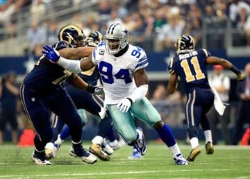 ARLINGTON, TX - SEPTEMBER 22:  Defensive end DeMarcus Ware #94 of the Dallas Cowboys in action during the game against the St. Louis Rams at AT&T Stadium on September 22, 2013 in Arlington, Texas.  (Photo by Jamie Squire/Getty Images) By Jamie Squire