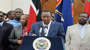 Kenyan leader proclaims victory over terrorists.  President Kenyatta declares three days of national mourning, saying at least 61 civilians were killed, along with six security forces. By AFP
