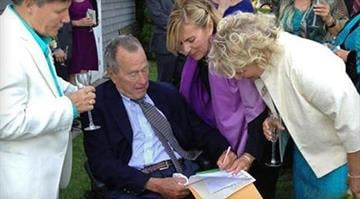 Who was a witness at a gay wedding?  Former President George H.W. Bush was an official witness at the same-sex wedding of two longtime friends in Maine. By Helen Thorgalsen/Facebook