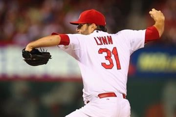 ST. LOUIS, MO - SEPTEMBER 27: Starter Lance Lynn #31 of the St. Louis Cardinals pitches against the Chicago Cubs in the third inning at Busch Stadium on September 27, 2013 in St. Louis, Missouri.  (Photo by Dilip Vishwanat/Getty Images) By Dilip Vishwanat