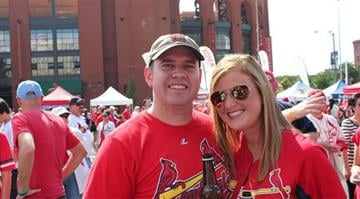 Hundreds of people on Thursday showed up to party during a pep rally outside Busch Stadium hours before the Cardinals were scheduled to take on the Pittsburgh Pirates in Game 1 of the NLDS. By Brendan Marks