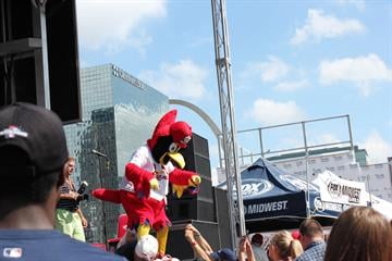 Hundreds of people on Thursday showed up to party during a pep rally outside Busch Stadium hours before the Cardinals were scheduled to take on the Pittsburgh Pirates in Game 1 of the NLDS. By Zach Dalin