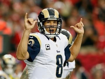 ATLANTA, GA - SEPTEMBER 15:  Sam Bradford #8 of the St. Louis Rams calls out to his offense during the game against the Atlanta Falcons at Georgia Dome on September 15, 2013 in Atlanta, Georgia.  (Photo by Kevin C. Cox/Getty Images) By Kevin C. Cox