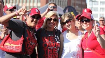 Hundreds of people on Friday showed up to party during a pep rally outside Busch Stadium hours before the Cardinals were scheduled to take on the Pittsburgh Pirates in Game 2 of the NLDS. By Belo Content KMOV