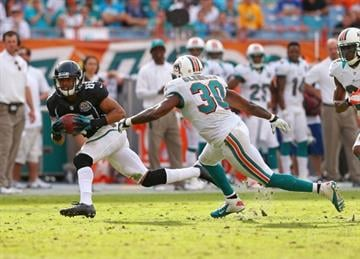 MIAMI GARDENS, FL - DECEMBER 16:  Cecil Shorts #84 of the Jacksonville Jaguars makes a catch during a game against the Miami Dolphins at Sun Life Stadium on December 16, 2012 in Miami Gardens, Florida.  (Photo by Mike Ehrmann/Getty Images) By Mike Ehrmann