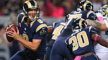 ST. LOUIS, MO - OCTOBER 6: Sam Bradford #8 of the St. Louis Rams looks to pass the ball against the Jacksonville Jaguars at the Edward Jones Dome on October 6, 2013 in St. Louis, Missouri.  (Photo by Dilip Vishwanat/Getty Images)