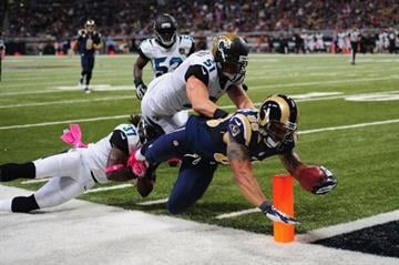 ST. LOUIS, MO - OCTOBER 6:  Lance Kendricks #88 of the St. Louis Rams scores a touchdown against the Jacksonville Jaguars at the Edward Jones Dome on October 6, 2013 in St. Louis, Missouri.  (Photo by Michael Thomas/Getty Images) By Michael Thomas