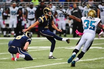 ST. LOUIS, MO - OCTOBER 6: Greg Zuerlein #4 of the St. Louis Rams kicks a 37 yard field goal against the Jacksonville Jaguars at the Edward Jones Dome on October 6, 2013 in St. Louis, Missouri.  (Photo by Michael Thomas/Getty Images) By Michael Thomas