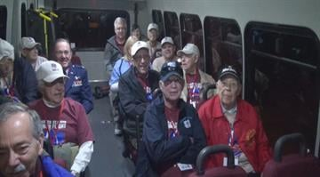 An Honor Flight group of World War II veterans from Kirkwood on Tuesday left for Washington DC to see the city's war memorials. By Brendan Marks