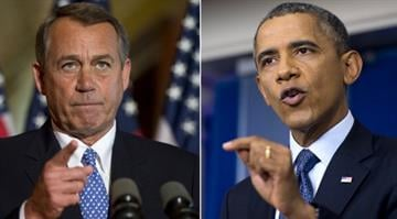 Hints of compromise in budget fight.  Obama and Boehner appear to give some ground, even if they offer little that's concrete. By SAUL LOEB