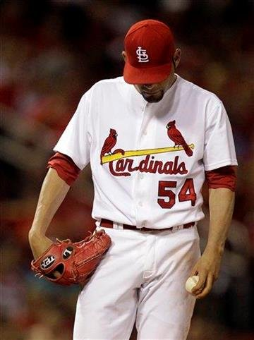 St. Louis Cardinals starting pitcher Jaime Garcia pauses on the mound during the fourth inning of a baseball game against the Milwaukee Brewers on Tuesday, Aug. 17, 2010, in St. Louis. (AP Photo/Jeff Roberson) By Jeff Roberson