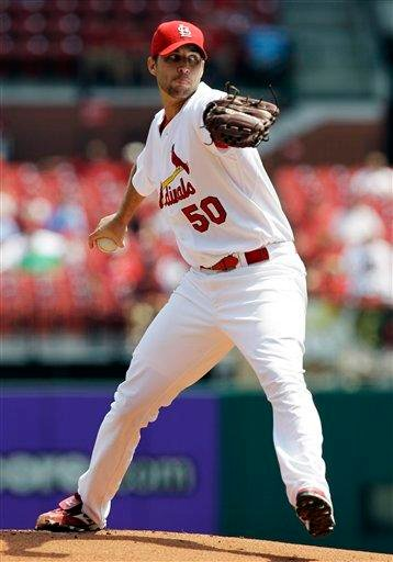St. Louis Cardinals starting pitcher Adam Wainwright throws during the first inning of a baseball game against the Milwaukee Brewers, Wednesday, Aug. 18, 2010, in St. Louis. (AP Photo/Jeff Roberson) By Jeff Roberson