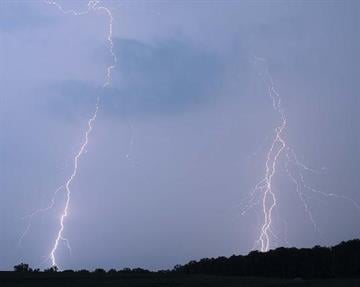 Two bolts of lightning fall from the sky near Wentzville, Mo. By KMOV Web Producer