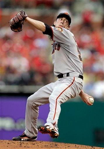 San Francisco Giants starting pitcher Tim Lincecum throws during the third inning of a baseball game against the St. Louis Cardinals Saturday, Aug. 21, 2010, in St. Louis. (AP Photo/Jeff Roberson) By Jeff Roberson