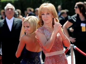 Kristin Chenoweth, left, and Kathy Griffin arrive at the Creative Arts Emmy Awards on Saturday, Aug. 21, 2010 in Los Angeles. (AP Photo/Chris Pizzello) By Chris Pizzello