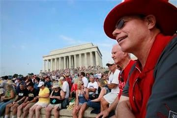 "James Johnson of Delray Beach, Fla., right, attends the ""Restoring Honor"" rally, organized by Glenn Beck, at the Lincoln Memorial in Washington,  Saturday, Aug. 28, 2010. (AP Photo/Jacquelyn Martin) By Jacquelyn Martin"