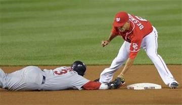 Washington Nationals shortstop Ian Desmond, right, picks off St. Louis Cardinals' Felipe Lopez at second base during the fifth inning of their baseball game at Nationals Park in Washington, Saturday, Aug. 28, 2010. (AP Photo/Susan Walsh) By Susan Walsh