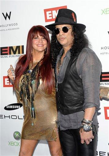 FILE - In this Jan. 31, 2010 file photo, musician Slash, right, and Perla Hudson arrive at the EMI Grammy party in Los Angeles. (AP Photo/Dan Steinberg, file) By DAN STEINBERG