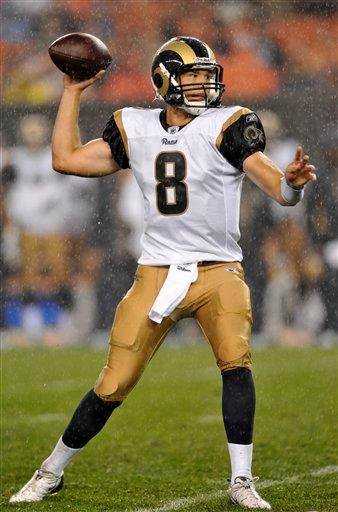 St. Louis Rams quarterback Sam Bradford passes in the first quarter of a preseason NFL football game against the  Cleveland Browns, Saturday, Aug. 21, 2010, in Cleveland. (AP Photo/David Richard) By David Richard
