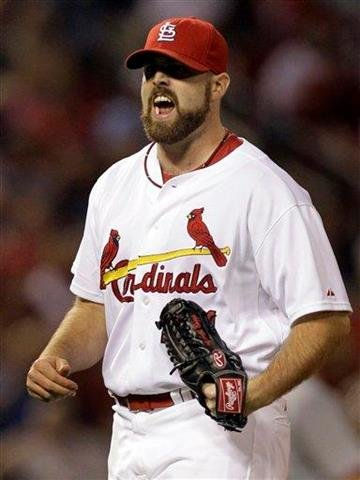 St. Louis Cardinals relief pitcher Mitchell Boggs lets out a yell after striking out Cincinnati Reds' Drew Stubbs to end the top of the seventh inning of a baseball game Friday, Sept. 3, 2010, in St. Louis. (AP Photo/Jeff Roberson) By Jeff Roberson