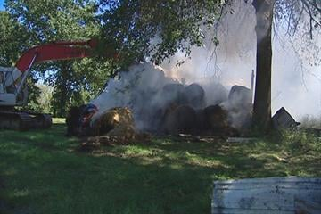 A barn full of hay bales caught fire Saturday in Edwardsville, Ill. By KMOV Web Producer