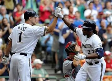 Milwaukee Brewers' Corey Hart congratulates Rickie Weeks after Weeks solo home run against the St. Louis Cardinals during the third inning of a baseball game Monday, Sept. 6, 2010, in Milwaukee. (AP Photo/Jim Prisching) By Jim Prisching