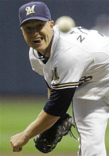Milwaukee Brewers starting pitcher Chris Narveson throws during the first inning of a baseball game against the St. Louis Cardinals on Tuesday, Sept. 7, 2010, in Milwaukee. (AP Photo/Morry Gash) By Morry Gash