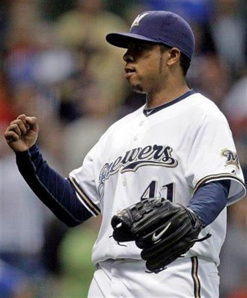 Milwaukee Brewers relief pitcher Jeremy Jeffress reacts after getting St. Louis Cardinals' Aaron Miles to ground out to end a baseball game Wednesday, Sept. 8, 2010, in Milwaukee. The Brewers won 8-1. (AP Photo/Morry Gash) By Morry Gash