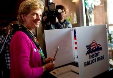 Democratic U.S. Senate candidate Robin Carnahan from Missouri casts her ballot Tuesday, Nov. 2, 2010, in St. Louis, Mo. (AP Photo/Whitney Curtis) By Whitney Curtis