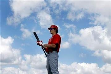 St. Louis Cardinals' Colby Rasmus waits to take batting practice during spring training baseball Sunday, Feb. 27, 2011, in Jupiter, Fla. (AP Photo/Jeff Roberson) By Jeff Roberson