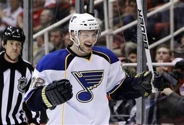 St. Louis Blues winger Brad Boyes (22) celebrates teammate Andy McDonald's goal during the second period of an NHL hockey game against the Detroit Red Wings in Detroit, Wednesday, Nov. 17, 2010. (AP Photo/Carlos Osorio) By Carlos Osorio
