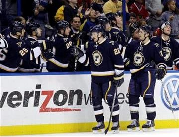 St. Louis Blues' Brad Boyes (22) celebrates with teammates after scoring in the first period of an NHL hockey game against the Chicago Blackhawks, Monday, Feb. 21, 2011, in St. Louis. (AP Photo/Tom Gannam) By Tom Gannam