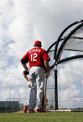 St. Louis Cardinals' Lance Berkman (12) waits to take his turn at batting practice during spring training baseball Sunday, Feb. 27, 2011, in Jupiter, Fla. (AP Photo/Jeff Roberson) By Jeff Roberson