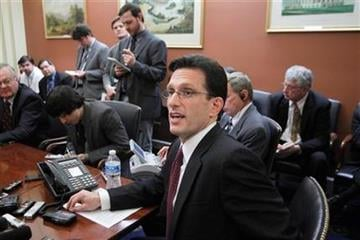 House Majority Leader Eric Cantor of Va., speaks to reporters on Capitol Hill in Washington, Monday, Feb. 28, 2011, as Congress resumes work on a spending plan to avoid a government shutdown. (AP Photo/J. Scott Applewhite) By J. Scott Applewhite