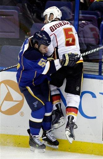 St. Louis Blues' Cam Janssen (55) slams Calgary Flames' Mark Giordano (5) into the boards in the second period of an NHL hockey game Tuesday, March 1, 2011, in St. Louis.(AP Photo/Tom Gannam) By Tom Gannam