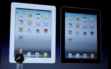 Apple Inc. Chairman and CEO Steve Jobs stands under images of the iPad 2 at an Apple event at the Yerba Buena Center for the Arts Theater in San Francisco, Wednesday, March 2, 2011. (AP Photo/Jeff Chiu) By Jeff Chiu