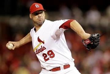 St. Louis Cardinals starting pitcher Chris Carpenter throws during the first inning of a baseball game against the Colorado Rockies on Thursday, Sept. 30, 2010, in St. Louis. (AP Photo/Jeff Roberson) By Jeff Roberson