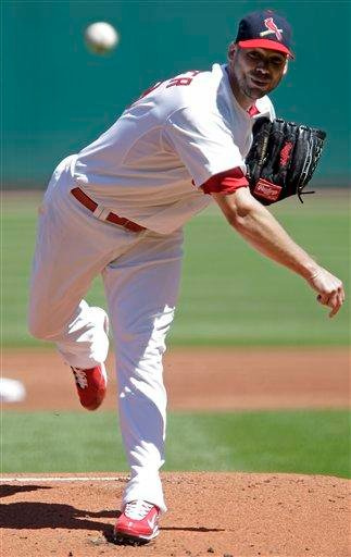 St. Louis Cardinals starting pitcher Chris Carpenter pitches in the first inning of a baseball game against the Cincinnati Reds, Sunday, Sept. 5, 2010 in St. Louis.(AP Photo/Tom Gannam) By Tom Gannam