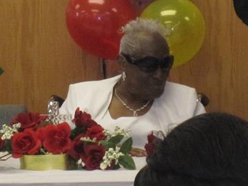 Mrs. Leola Washington celebrates her 110th birthday celebration at Union Tabernacle Missionary Baptist Church on March 2, 2011. By KMOV Web Producer