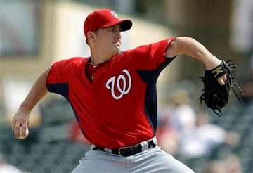 Washington Nationals starting pitcher Jordan Zimmermann throws during the second inning of a spring training baseball game against the St. Louis Cardinals Thursday, March 3, 2011, in Jupiter, Fla. (AP Photo/Jeff Roberson) By Jeff Roberson