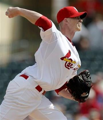 St. Louis Cardinals starting pitcher Brandon Dickson throws during the second inning of a spring training baseball game against the Washington Nationals Thursday, March 3, 2011, in Jupiter, Fla. (AP Photo/Jeff Roberson) By Jeff Roberson