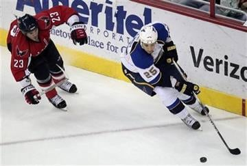 St Louis Blues' Chris Stewart (25) moves the puck as Washington Capitals' Scott Hannan (23) defends during the first period of an NHL hockey game Thursday, March 3, 2011, in Washington. (AP Photo/Luis M. Alvarez) By Luis Alvarez