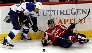 St Louis Blues' Ryan Reaves (75) and Washington Capitals' Matt Hendricks, right,  look for the puck during the second period of an NHL hockey game Thursday, March 3, 2011, in Washington. (AP photo/Luis M. Alvarez) By Luis Alvarez