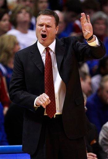 Kansas coach Bill Self instructs his team during the first half of an NCAA college basketball game against Texas A&M in Lawrence, Kan., Wednesday, March 2, 2011. (AP Photo/Orlin Wagner) By Orlin Wagner