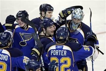 St. Louis Blues goalie Ben Bishop, right, is congratulated by his teammates after finishing off the Columbus Blue Jackets in the shootout of an NHL hockey game, Monday, March 7, 2011 in St. Louis. The Blues won 5-4. (AP Photo/Tom Gannam) By Tom Gannam