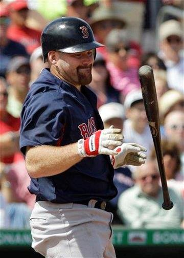 Boston Red Sox' Kevin Youkilis reacts during a spring training baseball game against the St. Louis Cardinals, Tuesday, March 8, 2011 in Jupiter, Fla. (AP Photo/Carlos Osorio) By Carlos Osorio