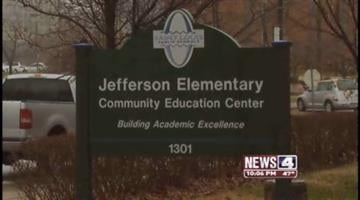 This March 8, 2011 photo taken from a News 4 newscast shows Jefferson Elementary school where a carbon monoxide scare caused an evacuation on Tuesday. By KMOV Web Producer