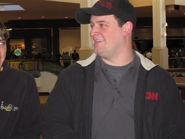 Shaun Hautly, the first customer in line for the Apple iPad 2 at the St. Louis Galleria, stands in line on March 11, 2011. By KMOV Web Producer