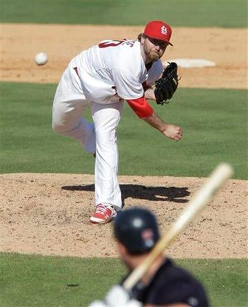 St. Louis Cardinals relief pitcher Jason Motte (30) throws during a spring training baseball game against the Minnesota Twins, Saturday, March 12, 2011, in Jupiter, Fla. (AP Photo/Carlos Osorio) By Carlos Osorio